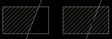 打断组成剖面线的某个外轮廓线后,原来的剖面线发生了变化